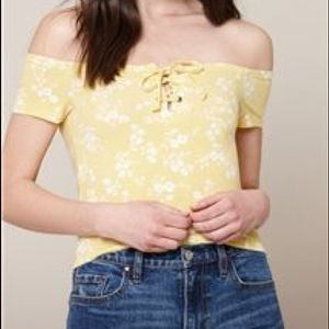 pacsun yellow lace up top
